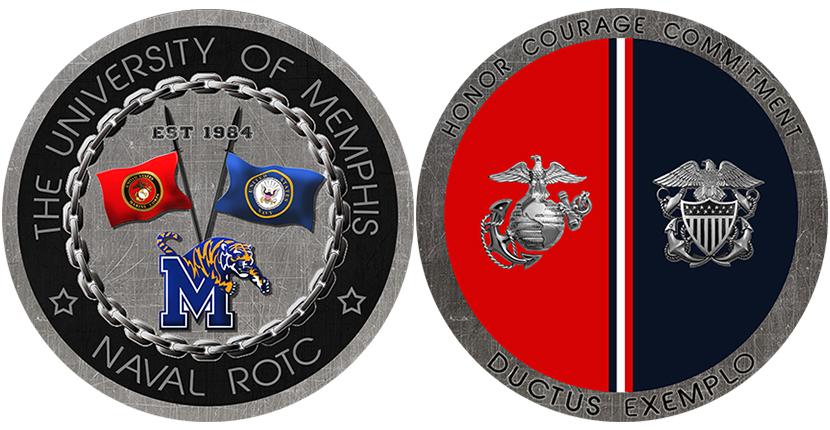 Naval ROTC Unit Coin Front and Back