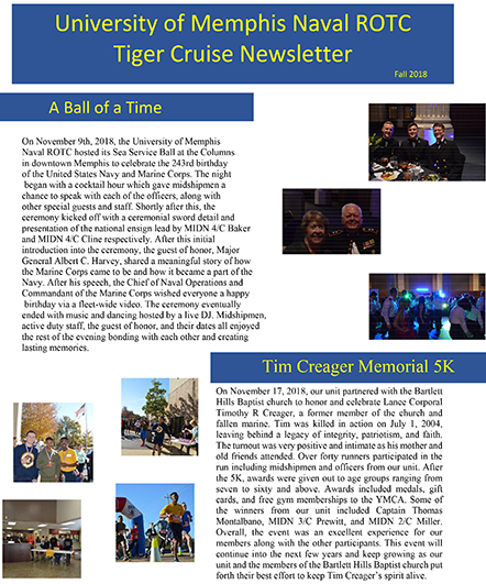 NROTC Tiger Cruise Newsletter Fall 2018