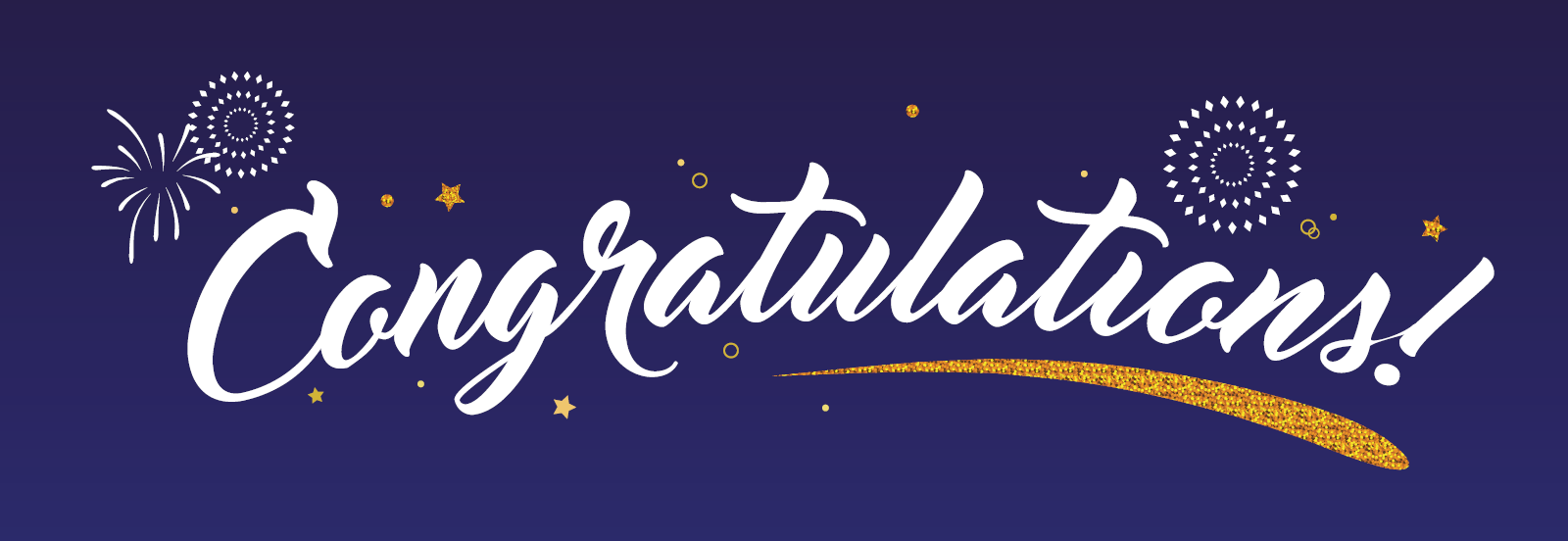Congratulations banner with blue background