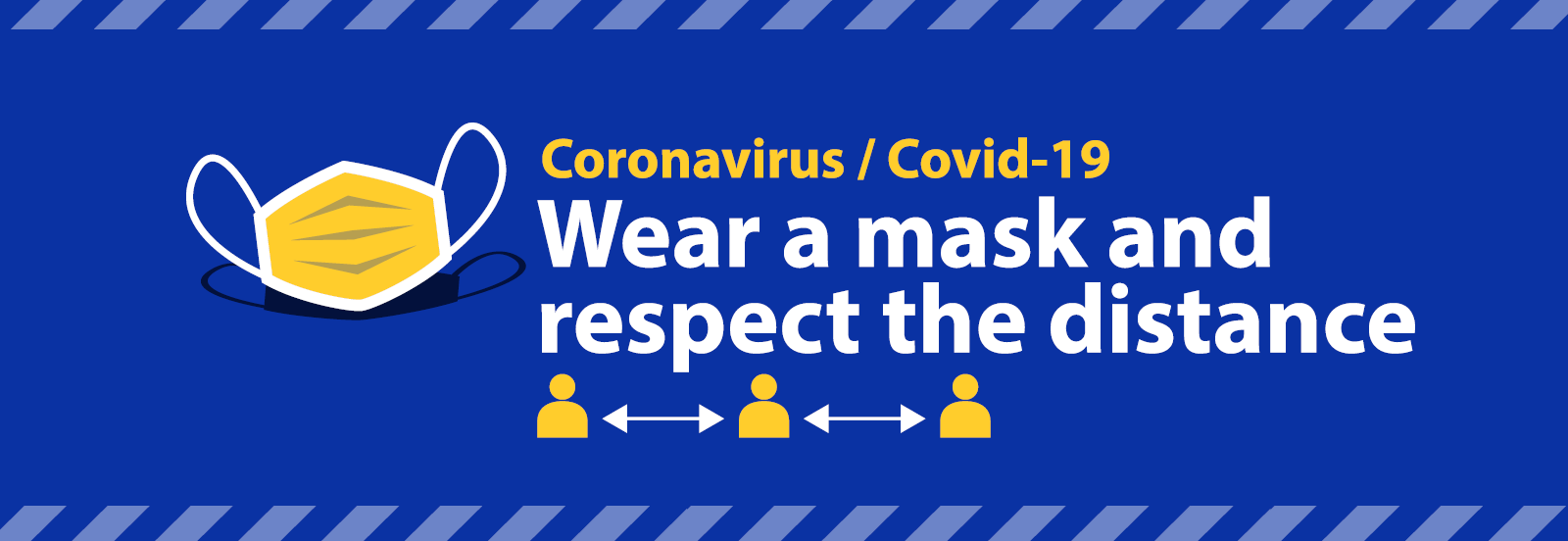 Coronavirus banner promoting wearing a mask and keeping socially distant