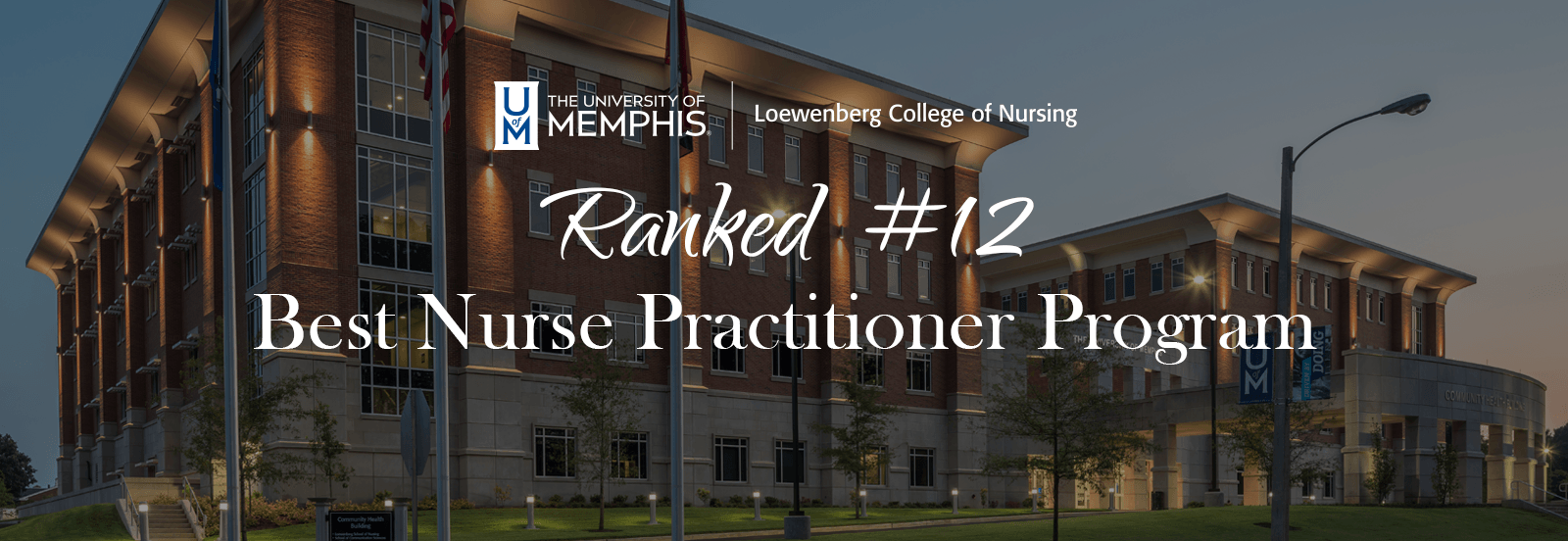 Picture of community health building with nursing logo, text reading ranked #12 best nurse practitioner program