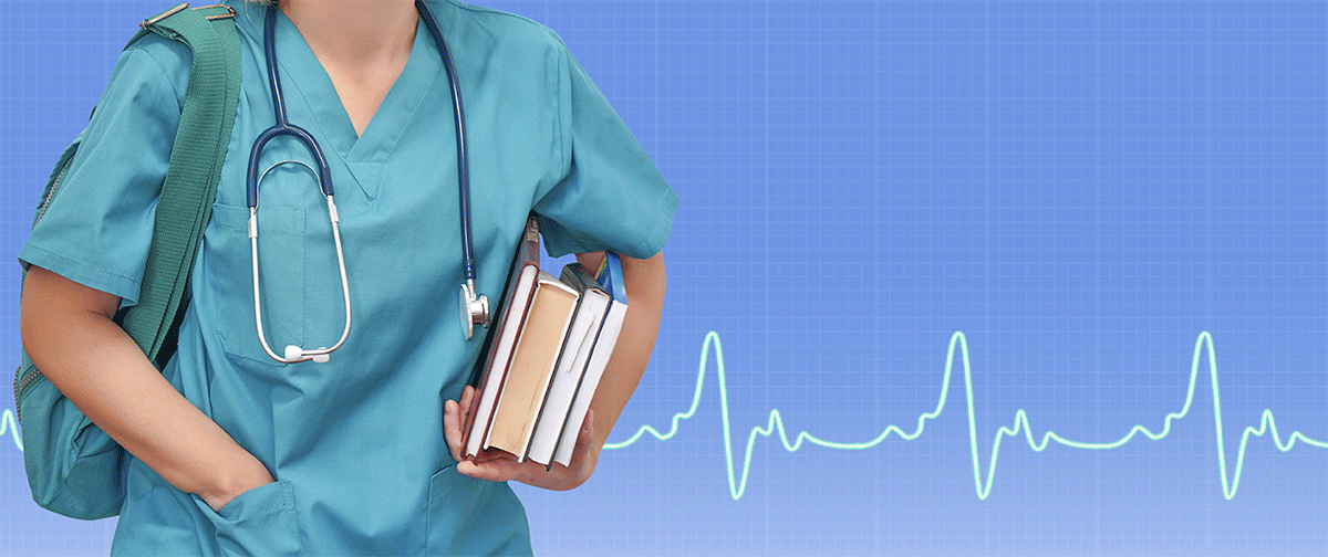 stock image: unknown nursing student wearing backpack, carrying books with ekg lines in background