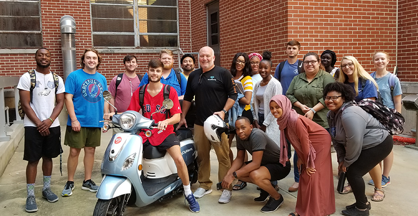 Andy Nix, founder of local nonprofit organization 'My City Rides' visits Instructor Candace Walsh's Civic Engagement class