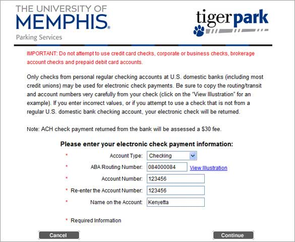 TigerPark Online Payment