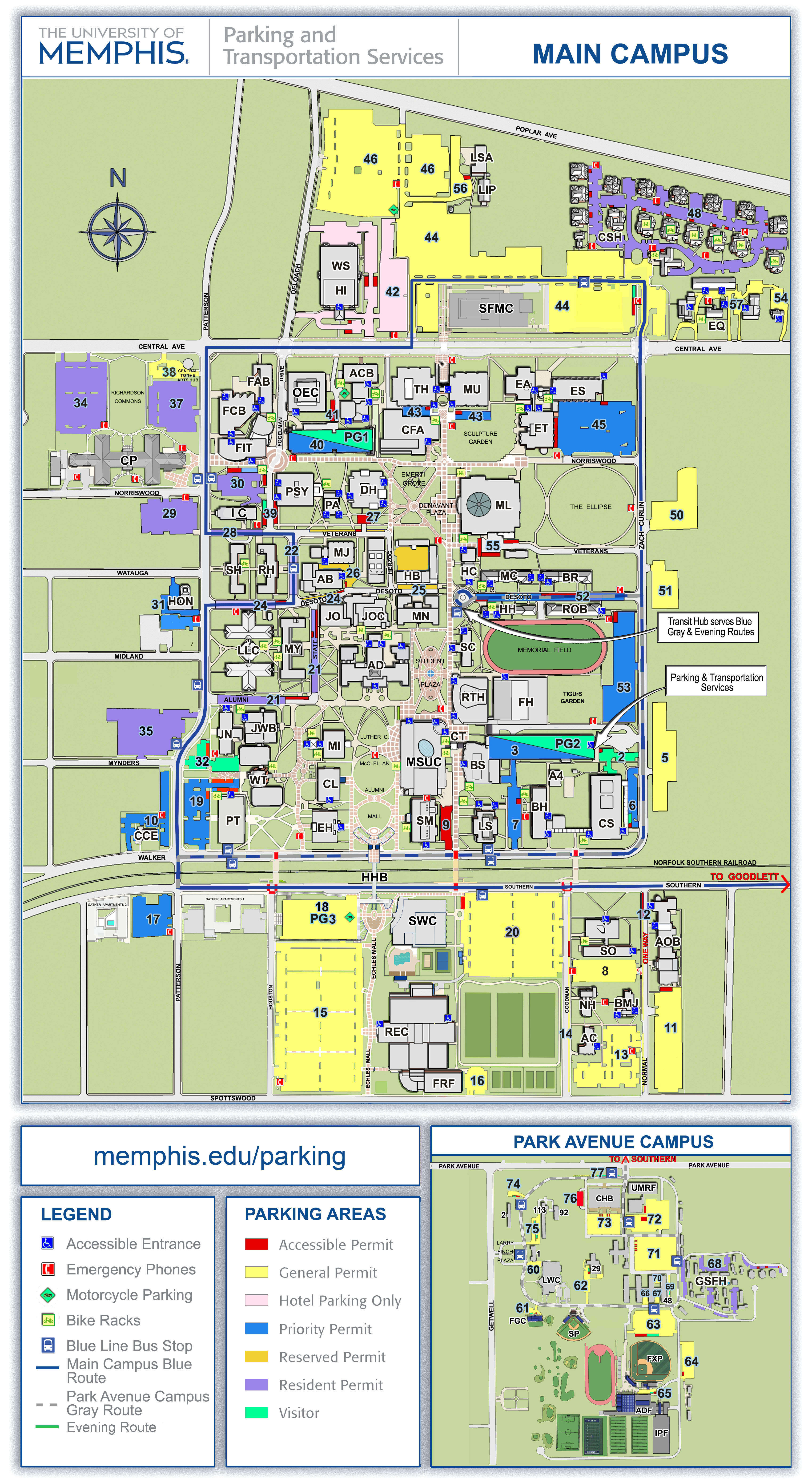 University of Memphis Parking Map