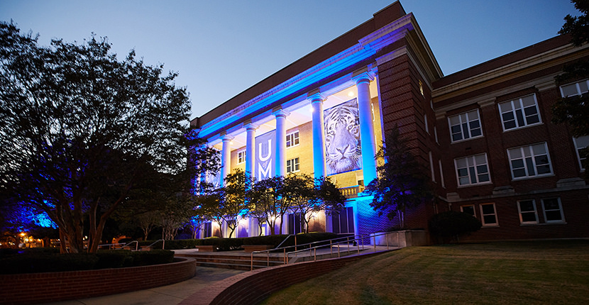 Administration Building columns blue lighting