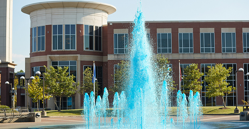Student Plaza blue water fountain
