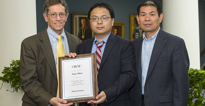 Dr. Xiao Shen wins 2016 Ralph E. Powe Junior Faculty Enhancement Award in Physical Sciences