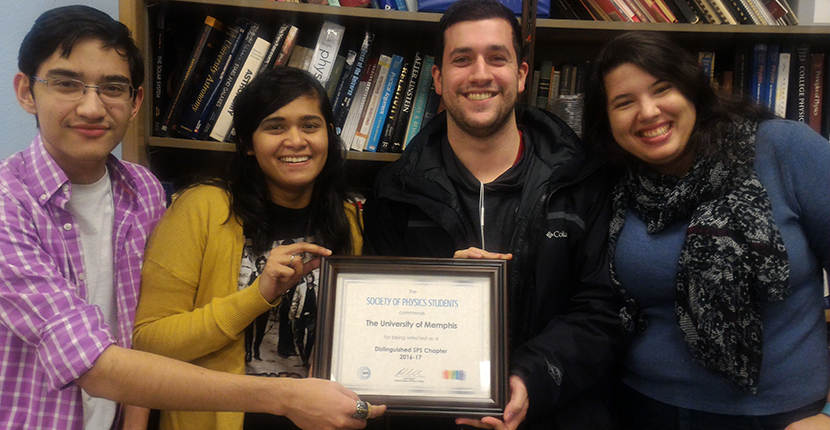 Society of Physics Students at the UofM Department of Physics and Materials Science wins Distinguished chapter Award