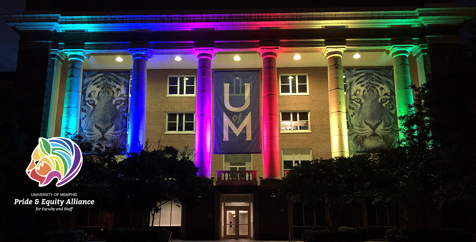 Administration Buildling with Rainbow Lights