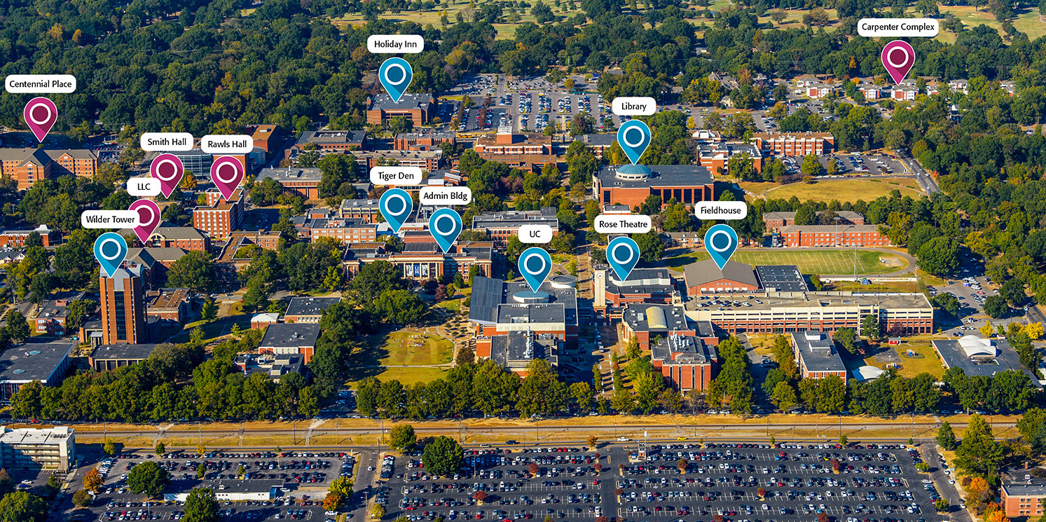 Aerial view of campus with residence halls