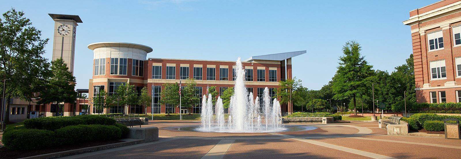 Student Plaza with fountain and University Center