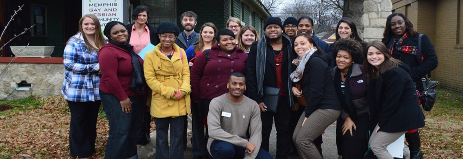 Social Work students outside the Memphis Gay and Lesbian Community Center