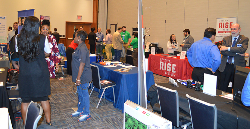 Students explored career and internship opportunities with major companies at the First Science, Technology and Math Career Fair.