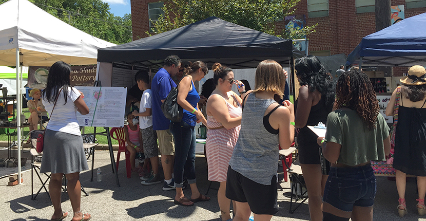 outside collaborative event in Student Activities Plaza, main UofM campus