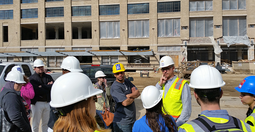 Students in UMDC Studio prepare for tour of Crosstown Concourse during its redevelopment.