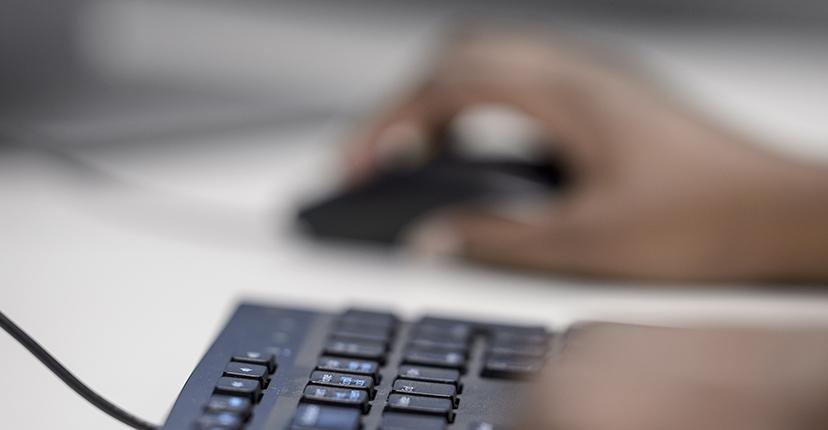Student online at desktop