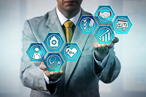 man in suit with hand out; icons in hexagons representing health data