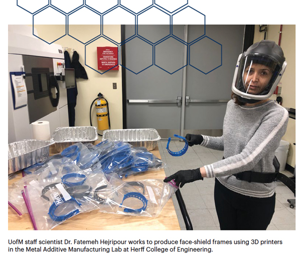 UofM staff scientist Dr. Fatemeh Hejripour works to produce face-shield frames using 3D printers in the Metal Additive Manufacturing Lab at Herff College of Engineering.