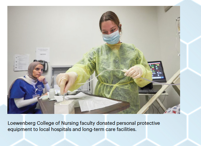Loewenberg College of Nursing faculty donated personal protective equipment to local hospitals and long-term care facilities.