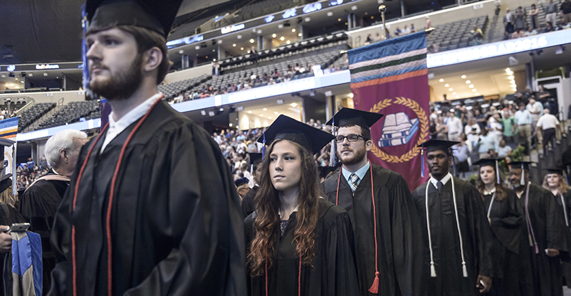 Students congregate on Commencement Day