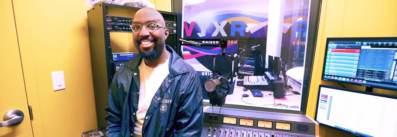 radio dj in the new WYXR studios